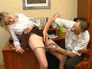 Lusty female co-worker getting silky hose pushed into her rock hard slit