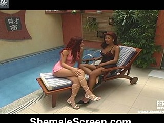 Cute sweetheart giving unfathomable throatjob her breasty shemale ally right by the pool