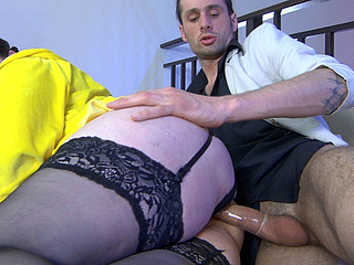 Curvaceous aged fatty gets her balloons licked by a guy previous to doggystyle