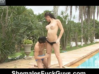 Sultry dick-angel puts her additional equipment to work luring a guy by the pool