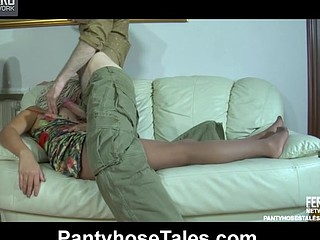Drunk golden-haired falls asleep and gets dicked thru her control top hose