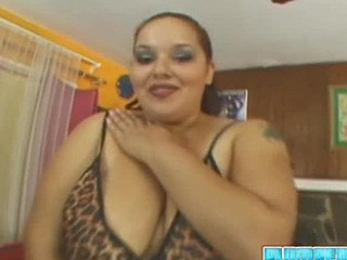 A lot of guys probably have the misconception that bulky cuties don't get laid. Not so in the case of large booty prostitute Elizabeth Rollings! If u are in to fatty honeys then your dick will be rock hard at the sight of this plus sized cutie as this babe teases u in her short leopardskin slip. This Babe's even hotter when this babe gets undressed - check out those huge, sagging breasts! That Babe eats a penis as good as this babe looks, gobbling down the rock hard bone of stud Jack Vegus. That Babe takes it in her fur pie and then back into her mouth several times - that babe's one of those fatties who doesn't care what goes down her throat! Jack spunks a load all over her cheeks.