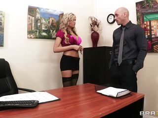This cute blonde bitch is staying at her desk and talking with a young male. The guy start kissing her slowly and gentile on her big boobs and is taking off her clothes. The blonde allow this guy to touch her pussy too and to finger her wet and tight vagina.