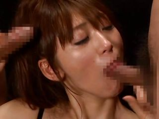 Only a few loads of warm jizz can bring Saki happiness. She sucks the hard dicks in front of her while staying on her knees and goes mad when she receives the spunk. As semen flows on her pretty face she begins to be hornier and continues licking and rubbing those dicks, she needs more to be completely satisfied!