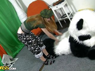What teen honey doesn't like a soft, cuddly panda? Kris sure does, but this life-sized bear is doing more than cuddling her back. He's taking off her shirt, revealing those cute, small breasts. Keep watching to soon see his bamboo going right up in her hot, tight snatch. You won't want to miss this!