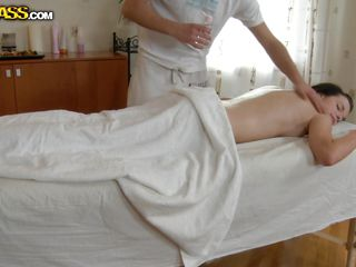 With an amazing body, dark hair and a very beautiful face Lily makes her masseur insanely horny. She is laid there on her belly and let's him massage her oiled body. Her perfect ass gets his attention and he rubs it real good to make her horny. Maybe this guy will get lucky and fuck this natural beauty