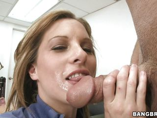 Take a look at smoking hot Ashlee sucking that cock. She's a pro and we can tell it from the begging. Her pretty face with those sexy lips makes this guy's dick rock hard and when she gets on that desk and spreads her delicious thighs so damn wide he can't help himself not to fuck the shaved pussy between them