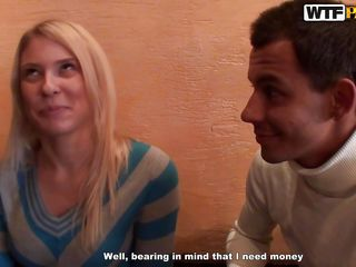 Blonde Iry is truly a beauty. She's at a restaurant with a guy and gets hornier by the minute as the man really wants to fuck her and gives his best convincing this beauty he's the one she should fuck with. After all that talking they go somewhere private and he offers her his big hard cock for a lustful suck