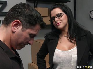 Watch that hot brunette seducing her employee and making him touch her big tits to make her feel good. Look how he plays with her boobs from behind and how she makes her horny. Is she going to suck on some hard cock or will she take it in her tight pussy?
