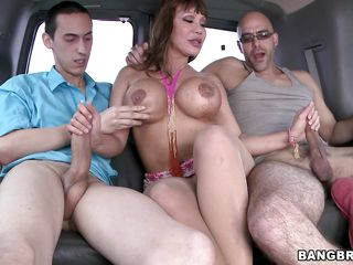 Two dicks don't have any idea what they will be getting in the car they want to ride. The sexy milf with big round boobs gives them a blowjob that they could have ever imagined off. These boys would have never thought that they would get a sexy blowjob as she can suck their dicks even if they are strangers.