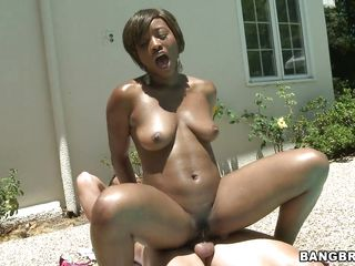 Horny chocolate honey Imani Rose is getting drilled by the side of a swimming area. These brownie babe is riding the cock like a crazy cowgirl screaming and moaning at outdoor with the sensual pleasure she is getting form this hot interracial fuck.