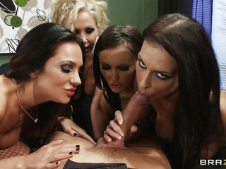 Lucky guy gets the fuck of his life. He's standing on his desk working when these gorgeous babes are grabbing him and suck his hard dick frenetically. Look at them sucking, licking and deepthroating his hard cock with their big juicy lips. We can agree on the fact that he is one lucky dude. Will he have enough semen to satisfy these hot and horny sluts? Stick around because things are going to get a lot more interesting!