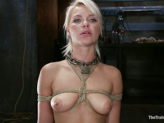She's a thin sexy blonde with a pair of lips that are perfect for sucking cock and a bubble butt that demands some serious fucking. Watch her as she's tied up and hangs there while the bald guy fucks her cunt hard and his friend takes care of her mouth. She enjoys a ruff fuck, will she enjoy some semen too?