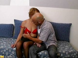 Look at those two mature persons how starts pleasuring themselves. This is the perfect moment to be on that couch. This bald guy is taking off those lady clothes, and starts fingering her. He gentle goes to lick her pussy, while the boobs are groped hard. I wonder what the mature will do next, shall we watch?