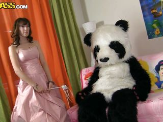 Olga likes dressing games and here she is dressed up with a long skirt, just like a little princess. Her clothes don't last long on her and she soon undresses and kneels in front of her favorite bear, the naughty panda bear that is. She gives him head and then allows him to fuck her pussy in cowgirl position