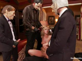 Sexy blonde whore Zoey gets fucked hard by five horny men with face masks. She is recorded, while her tight holes are getting filled with big hard dicks by turns. She moans with pleasure and wants more and more. She opens her mouth to suck it deep. Who will cum first, she or they?