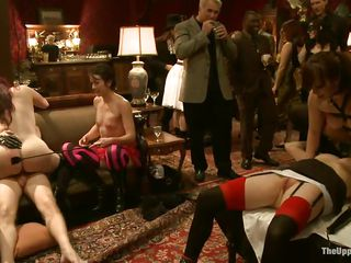 They want to have fun and they decided to humiliate the bound women. But it's only beginning of this kinky orgy. They are sharing the pussies of these women among themselves. One woman sits on the face of captive to give satisfaction.