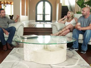 Briana Banks and her husband are offered a man for doing some action in front of a camera, as husband starts taking off his clothes he is told that the task have to be performed by professional. The big breasted milf agrees with him and likes to be fucked by professional. Her husband doesn't like this and goes out and then they starts their hardcore action. He kisses her and then lay down her on the bed and pull off her panties and sucks her cunt.