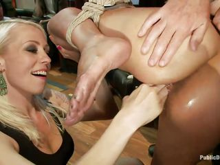 Sex slave Beretta James is a brunette milf with big tits and a nice round ass eager for punishment. Karlo Karrera takes advantage of her being blindfolded, taking out his big black cock and starting to fuck her wet throat roughly. A blonde babe comes in and starts fingering her vagina for more pleasure.