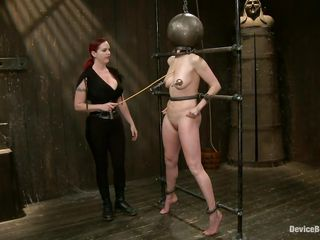 Skilled mistress Mz Berlin punishes her sloppy slut Odile. She fingers her pussy and rubs it with a vibrator, making her moan frenetically. The bitch needs to stay on her feet, as she is tied on a metal frame. Do you think the metal ball on her head makes her feel intensely? Let`s see what else happens.