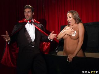 After doing a magic trick with his brunette twenty seven year old slut's breasts, a magician decides he wants to play with them. She removes two playing cards from her big gorgeous boobs revealing her perky nipples. Look at her face as she sucks the magicians cock and gets her tits fucked hard!