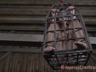 Hanged in a cage Sasha is being lowered only in the purpose of being sexually used and he accepts her role as a sex slave. The older man lowers the cage and takes out his cock to fuck her mouth while she's still inside the cage. Sasha does a good job giving head with a lot of lust, will he use her at something else?