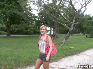 Beautiful blonde babe with small breasts is being offered money to go inside the Bang Bus. She refuses at first, but after being pressed, she finally agrees to get in. Will she get fucked or will she only show her body?