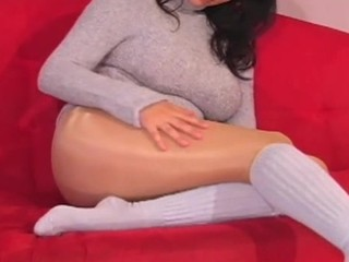 Amazing solo cutie fingers horny snatch throughout taut hose