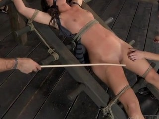 Slavemaster is giving gagged chick a brutal wet crack gratifying