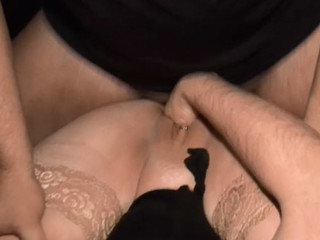 Housewife taking her husbands dick in her chocolate hole