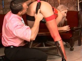 Horny slut gets a nasty malicious marital-device in unshaved snatch