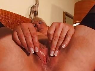Mature blond enjoys her own body - DBM Video