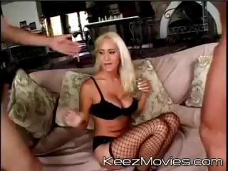 Busty blonde MILF gets 2 cocks to suck and get fucked by