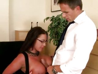 Busty Emma Busty gets her giant tits glazed with cum