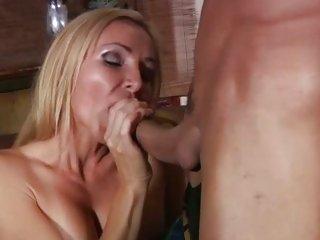 MILF Lisa Lee sucks and tit fucks cock before a fuck