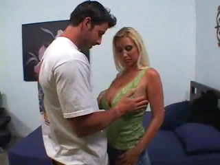 He plays with her spectacular milf tits