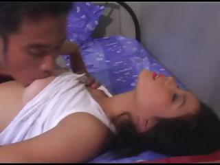 Thai chick with great natural titties lets her fuckmate film her in act
