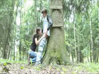 Teenage girl sucks dick in the woods