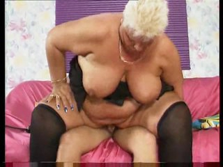 Fat bitch with short hair sucks his cum out