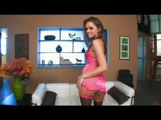 Tori Black solo in pink satin lingerie